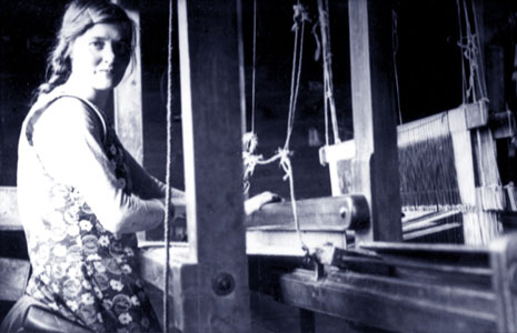 This iconic photo shows Jane Macdonald (nee Morrison)  at her loom.