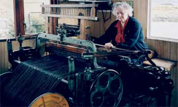 Katie at her loom